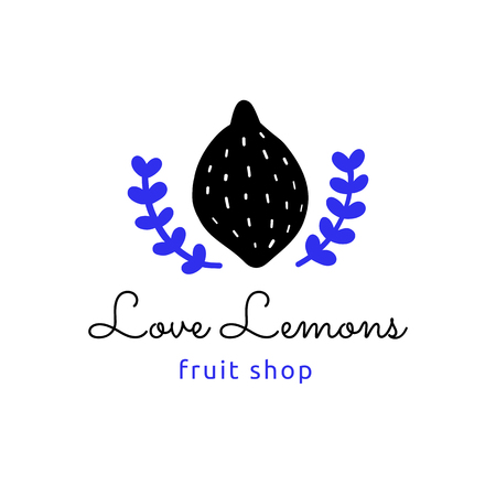 Vector logotype, decorative illustration with lemon and text.