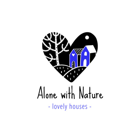 Vector scandinavian logotype, decorative illustration with heart, house and text. Illustration