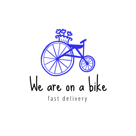 Vector scandinavian logotype, decorative illustration with bike and text.