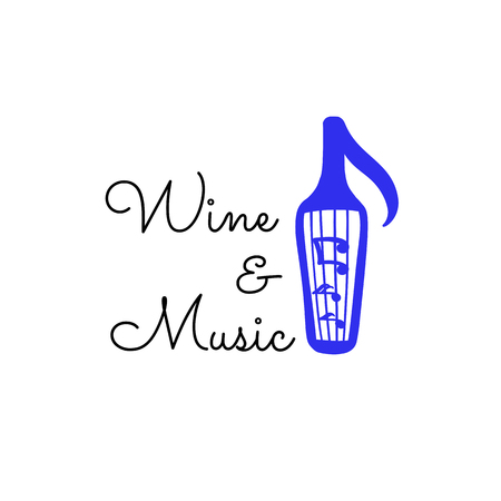 Vector scandinavian logotype, decorative illustration with wine and text.