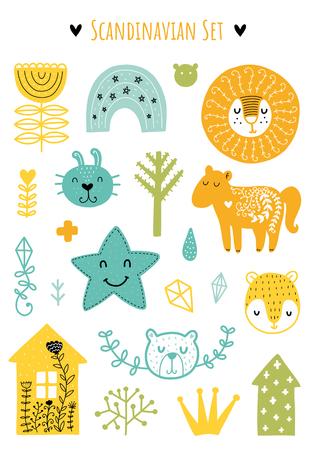 Elementos de garabatos escandinavos. Elementos de vector de color. Ilustración con decoración floral. Diseño para estampados y tarjetas.