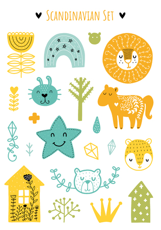Scandinavian Doodles elements. Color vector items. Illustration with floral decor. Design for prints and cards.