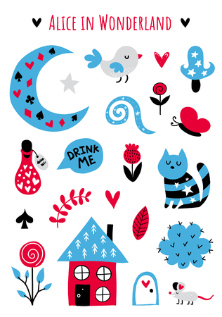 Fairytale cute elements. Color vector items. Illustration with cat and decor. Design for prints and cards.