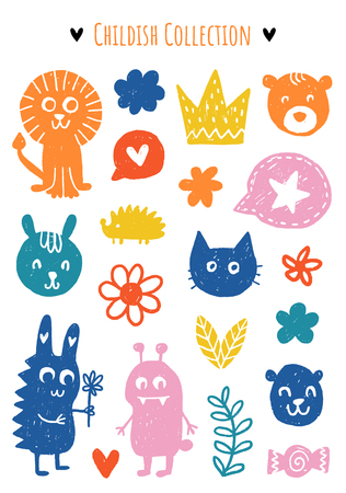 Colección de elementos vectoriales infantiles. Coloridos elementos dibujados a mano en el tema de los niños. Diseño para camiseta, textil y estampados. Ilustración de vector