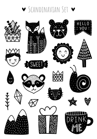 Scandinavian Doodles elements. Black vector items. Illustration with floral decor. Design for prints and cards.