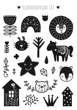 Elementos de garabatos escandinavos. Elementos de vector negro. Ilustración con decoración floral. Diseño para estampados y tarjetas.