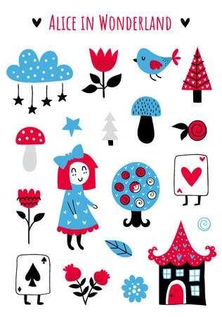 Fairytale cute elements. Color vector items. Illustration with girl and decor. Design for prints and cards.
