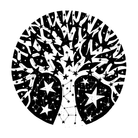 Hand drawn circle with stars. Black vector illustration. Image with tree. Design for t-shirt, prints and cards.