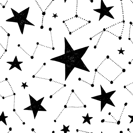 Seamless hand drawn pattern. Vector background with stars. Space and astronomy theme. Design for prints, shirts and posters.