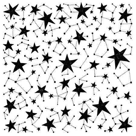 Hand drawn constellations. Vector isolated stars. Space and astronomy theme. Design for prints, shirts and posters. Illustration