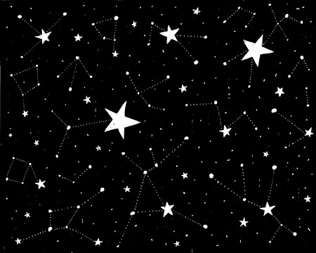 Hand drawn backdrop with stars and constellations. Vector black background with texture. Design for prints and posters.