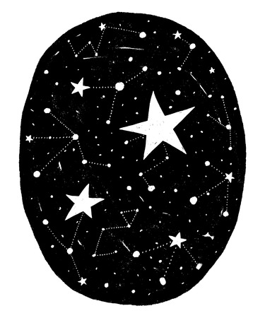 Hand drawn circle backdrop with stars and constellations. Vector black background with texture. Design for prints and posters.