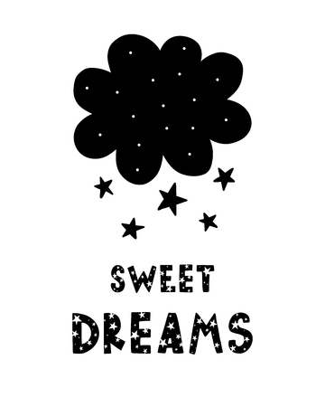 Black childish vector card. Lettering with illustration in Scandinavian style. Creative poster with phrase and cloud. Sweet dreams.