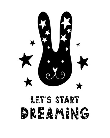 Black childish vector card. Lettering with illustration in Scandinavian style. Creative poster with phrase and rabbit. Lets start dreaming. 向量圖像