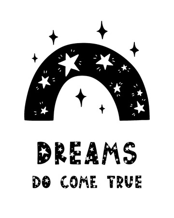Black childish vector card. Lettering with illustration in Scandinavian style. Creative poster with phrase and rainbow. Dreams do come true.  イラスト・ベクター素材