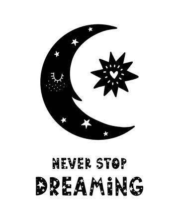 Black childish vector card. Lettering with illustration in Scandinavian style. Creative poster with phrase and moon. Never stop dreaming.  イラスト・ベクター素材