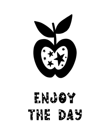 Black childish vector card. Lettering with illustration in Scandinavian style. Creative poster with phrase and apple. Enjoy the day.