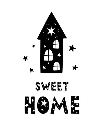Black childish vector card. Lettering with illustration in Scandinavian style. Creative poster with phrase and house. Sweet home.