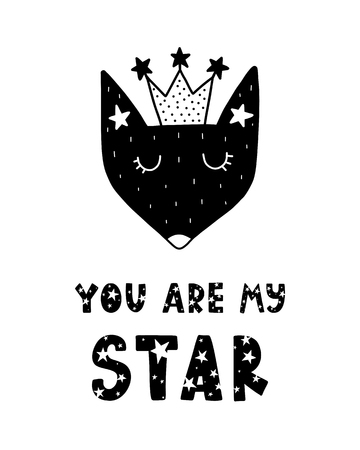 Black childish vector card. Lettering with illustration in Scandinavian style. Creative poster with phrase and fox. You are my star.  イラスト・ベクター素材