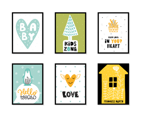 Colorful childish vector cards collection. Lettering with illustration in Scandinavian style. Creative interior posters with pictures and phrases. Çizim