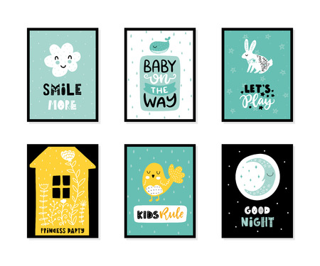 Colorful childish vector cards collection. Lettering with illustration in Scandinavian style. Creative interior posters with pictures and phrases. Stok Fotoğraf - 105637924