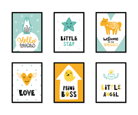 Colorful childish vector cards collection. Lettering with illustration in Scandinavian style. Creative interior posters with pictures and phrases. Stok Fotoğraf - 105637925
