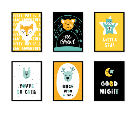Colorful childish vector cards collection. Lettering with illustration in Scandinavian style. Creative interior posters with pictures and phrases. Stok Fotoğraf - 112350534