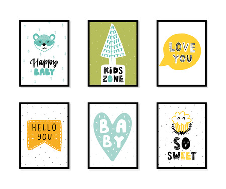 Colorful childish vector cards collection. Lettering with illustration in Scandinavian style. Creative interior posters with pictures and phrases. Stok Fotoğraf - 112350537