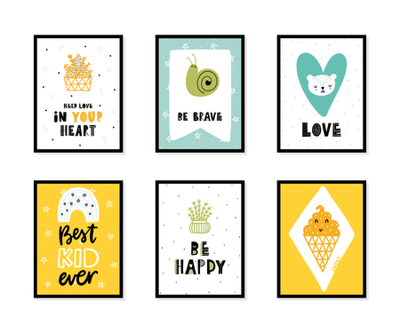 Colorful childish vector cards collection. Lettering with illustration in Scandinavian style. Creative interior posters with pictures and phrases. Stok Fotoğraf - 112321642