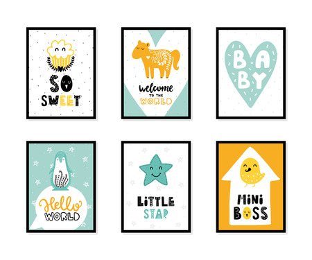 Colorful childish vector cards collection. Lettering with illustration in Scandinavian style. Creative interior posters with pictures and phrases. Illustration