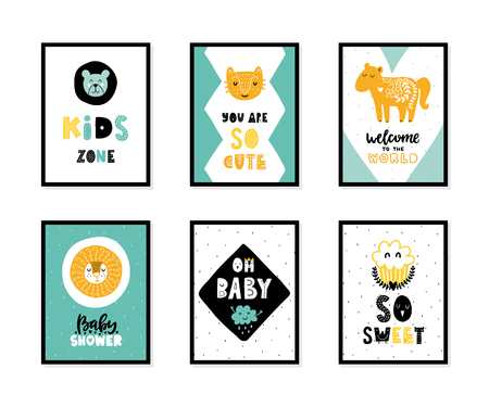 Colorful childish vector cards collection. Lettering with illustration in Scandinavian style. Creative interior posters with pictures and phrases. Stok Fotoğraf - 106362918