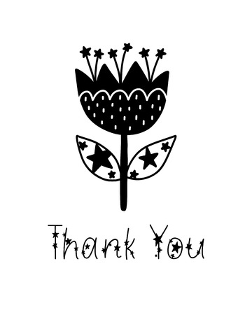 Monochrome childish vector card. Lettering with illustration in Scandinavian style. Creative poster with phrase, flower and stars. Thank you. Illustration