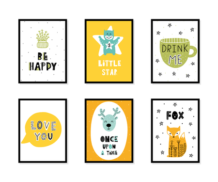 Colorful childish vector cards collection. Lettering with illustration in Scandinavian style. Creative interior posters with pictures and phrases. Stok Fotoğraf - 108296054