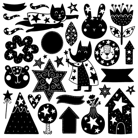 Scandinavian Kids Doodles elements. Black vector items. Illustration childish decor. Design for prints and cards. Çizim