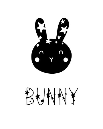 Monochrome childish vector card. Lettering with illustration in Scandinavian style. Creative poster with phrase and rabbit.
