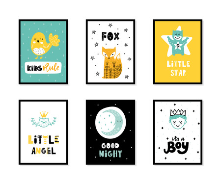 Colorful childish vector cards collection. Lettering with illustration in Scandinavian style. Creative interior posters with pictures and phrases. Stok Fotoğraf - 112004080