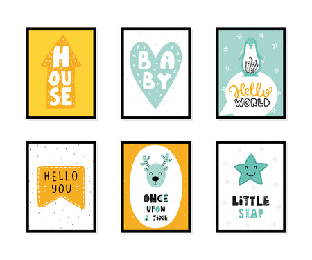 Colorful childish vector cards collection. Lettering with illustration in Scandinavian style. Creative interior posters with pictures and phrases. Stok Fotoğraf - 112004083