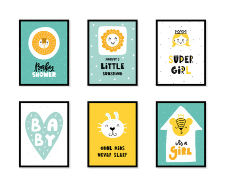 Colorful childish vector cards collection. Lettering with illustration in Scandinavian style. Creative interior posters with pictures and phrases. Stok Fotoğraf - 112004086