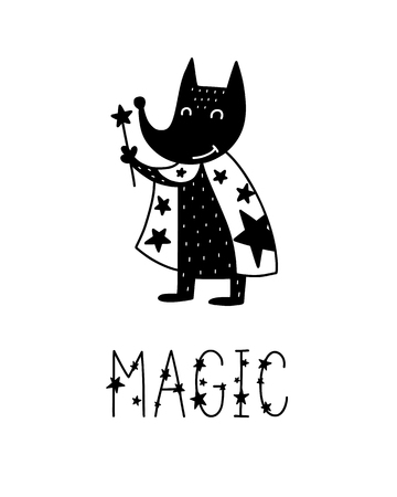 Monochrome childish vector card. Lettering with illustration in Scandinavian style. Creative poster with phrase, fox and stars.