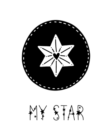 Monochrome childish vector card. Lettering with illustration in Scandinavian style. Creative poster with phrase and star.  イラスト・ベクター素材
