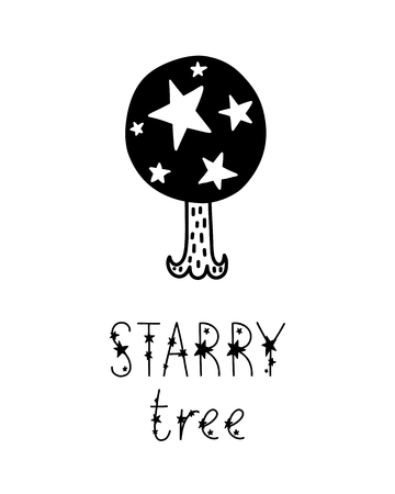 Monochrome childish vector card. Lettering with illustration in Scandinavian style. Creative poster with phrase and stars. Starry tree.  イラスト・ベクター素材