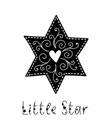 Monochrome childish vector card. Lettering with illustration in Scandinavian style. Creative poster with phrase and heart. Little star.  イラスト・ベクター素材