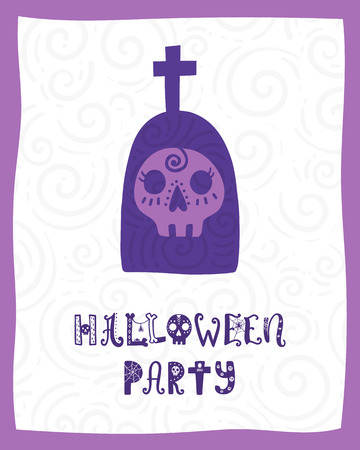 Colorful Halloween vector card. Hand drawn lettering with tombstone. Design for invitation, banner, poster for a party. Creative background in funny style.