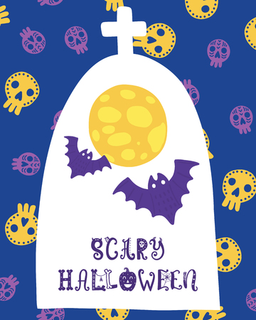 Colorful Halloween vector card. Hand drawn lettering with bat moon. Design for invitation, banner, poster for a party. Creative background in funny style. Ilustração