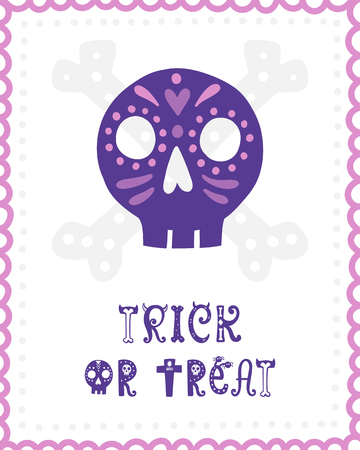 Colorful Halloween vector card. Hand drawn lettering with skull. Design for invitation, banner, poster for a party. Creative background in funny style.