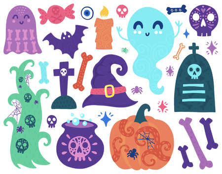 Doodles cute elements. Color vector items. Illustration with ghost, pumpkin and bone. Design for prints and cards.