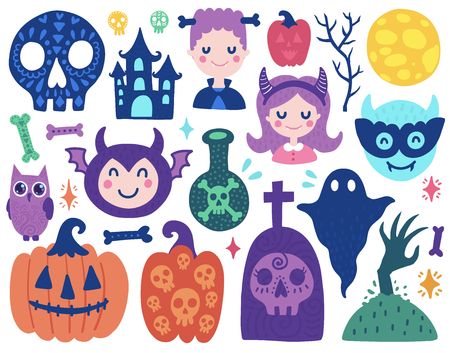 Halloween cute elements. Color vector items. Illustration with pumpkin, skull and ghost. Design for prints and cards.
