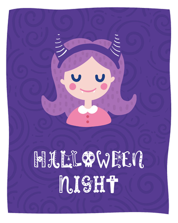 Colorful Halloween vector card. Hand drawn lettering with girl. Design for invitation, banner, poster for a party. Creative background in funny style. Ilustração