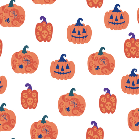Seamless halloween pattern. Vector background with pumpkins. Design for prints, shirts and posters.