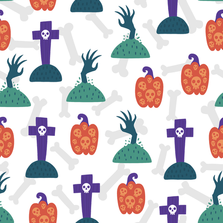 Seamless halloween pattern. Vector background with tombstone and pumpkin. Design for prints, shirts and posters. 矢量图像